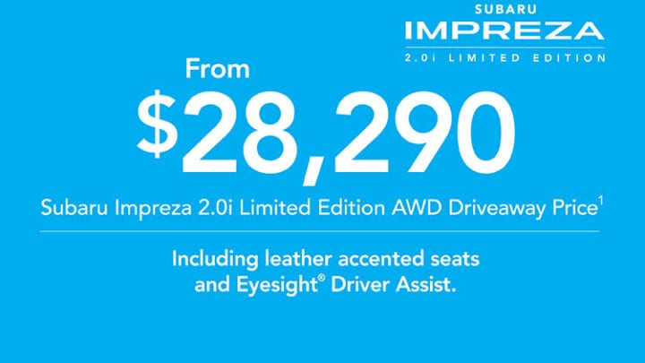 2019 Plate Clearance - Impreza 2 0i AWD Limited Edition