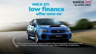 WRX STI low rate finance offer now on