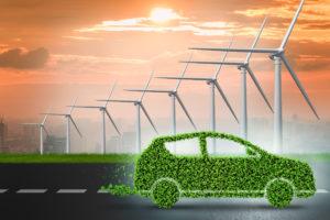 "Alt=""Green car with wind turbines"""