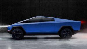 """Alt=""""blue Tesla Cyber Truck"""">"""