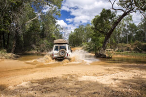 "alt=""Crossing a flooded river in Western Australia"""