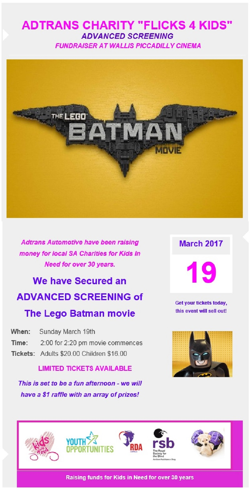 "Adtrans Charity ""Flicks 4 Kids"" - The Lego Batman Movie Fundraiser"